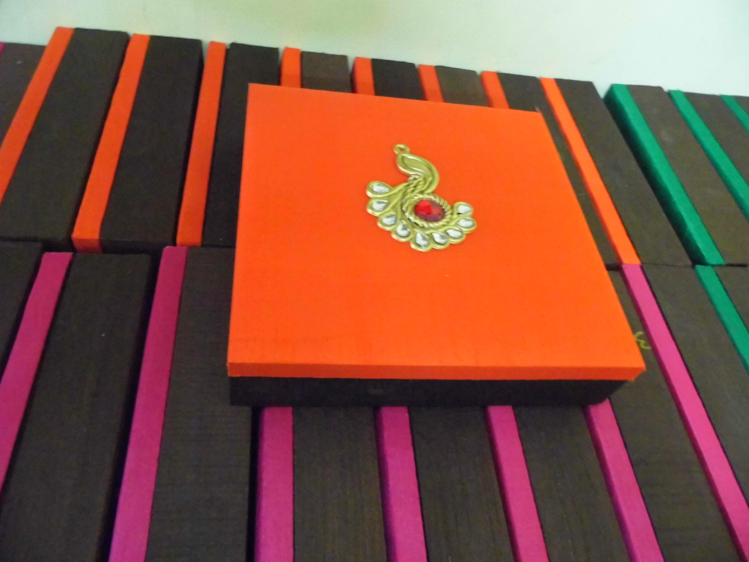 Custom Made Silk Fabric Covered Wedding Invitation Boxes With