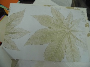 leaf impression papers, handmade paper with leaf impressions, leaf impressions on paper
