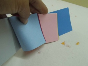 recycled papers, recycled baby blue papers, recycled baby pink papers