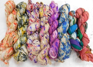 sari silk ribbons, multi colored sari silk ribbons, sari ribbons, silk ribbon yarns